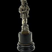 Big Henry VIII silvered bronze wax seal on marble plinth