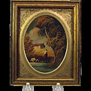 Vintage original European miniature oil painting would suit large scale doll house