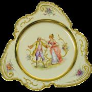 Unusual shape Dresden hand painted porcelain cabinet plate Blind Man's Bluff scene