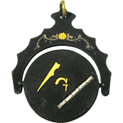 Rare 19th Century damascene Masonic optical flicker fob or pendant optical toy