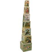 Set 8 Victorian lithographed nesting blocks toy