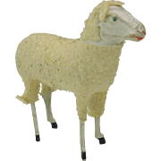 SALE PENDING Large size antique German Putz wooly sheep
