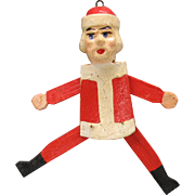 SALE PENDING Antique German SANTA jumping jack Christmas ornament wood & paper mache
