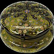 Larger antique enameled Moser glass dresser box