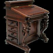 Fine vintage miniature Davenport writing desk for Fashion doll