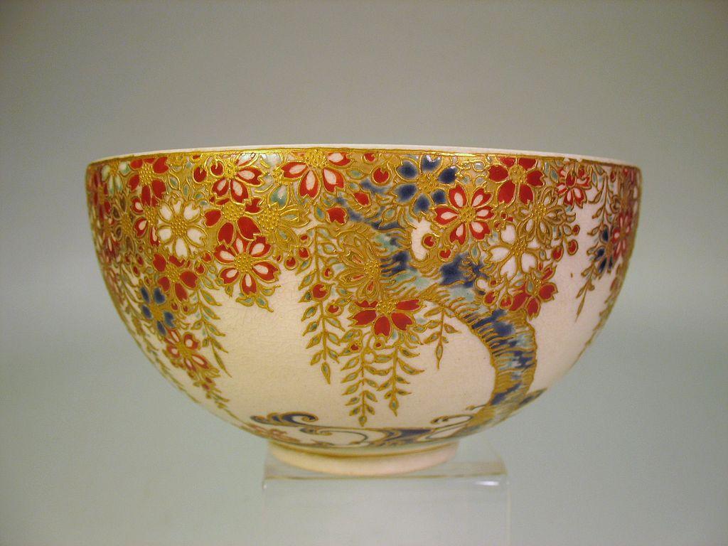 Antique Japanese Satsuma Gosu Blue Art Nouveau bowl