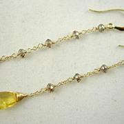 SALE 14K Solid Gold~Yellow Beryl & Champagne Diamond earrings