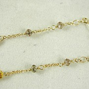 SALE 14K Solid Gold~ AA Tanzanite & Champagne Diamond Earrings~RR
