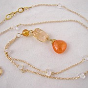 18k Solid Gold~Herkimer Diamond necklace with mandarin Garnet, Sapphire & Imperial Topaz pendant