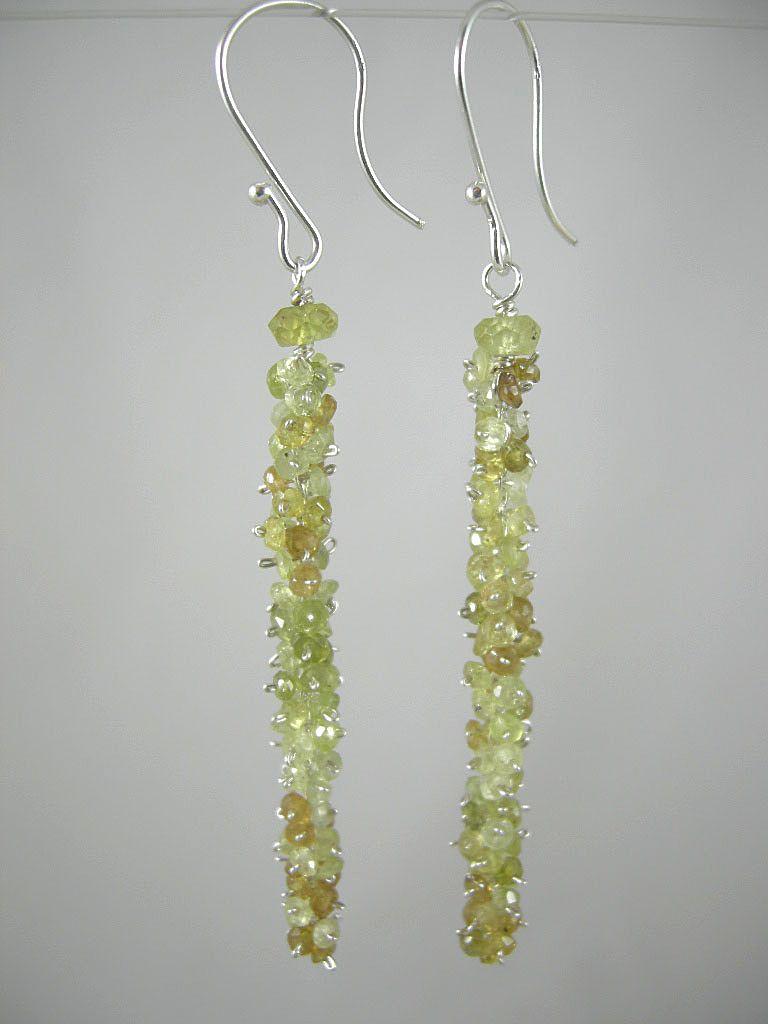 "Sterling Silver~ Grossular Garnet ""caterpillar"" Earrings"