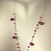 "SALE 18K Solid Gold~ Ruby, Tanzanite, Keishi Pearl ""princess"" necklace!!"
