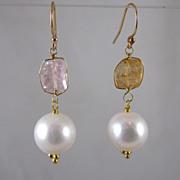 18k Solid Gold~ AAA 10mm Cultured pearls & Kunzite Earrings