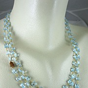 "SOLD 14K Gold Filled~ AAA Triple Strand Swiss Blue Topaz w/ Hessonite cluster ""Ava"""