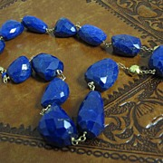 SALE 14K & 18K Solid Gold~ AAA Afghani Lapis Necklace~ one-of-a-kind