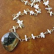 SALE 18K Gold~ Unusual Tourmaline slice & Keishi Pearl necklace