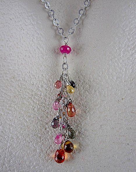 14K White Gold~ Multi-color Natural Sapphire Necklace
