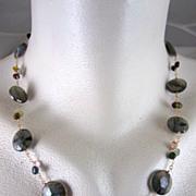SALE 14K & 22K Solid Gold~ AAA Blue Flash Labradorite & Tourmaline Necklace~new 2012