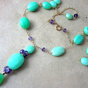 SALE 14K & 18K Solid Gold~ AAA Chrysoprase & African Amethyst Necklace~ new 2012