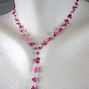 SALE 18K & 14K Solid Gold~ AAA Raspberry Sapphires & Mandarin Garnet Necklace~ new!