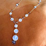 18K Solid Gold~AAA Ceylon Moonstone & mauve Sapphire Necklace~ stunning!!