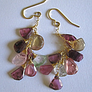 18K Solid Gold~ Gorgeous Watermelon Tourmaline Slice Earrings~ only one pair!