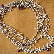 """22k Vermeil~ 36"""" Seed Pearls & Amethyst Necklace~2014"""