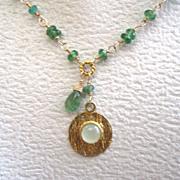 18K Solid Gold~ AAA Grass Green Tsavorite w/ Prehnite Pendant~ Brand New 2014