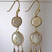 18K/14K Solid Gold~AAA Coin Pearls & blue Zircon Earrings~ new 2014