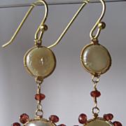 14k & 18K Solid Gold~AAA Freshwater Pearls & Pyrope Garnet Earrings
