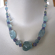 """SALE 14K Solid Gold~ AAA Aquamarine & Tanzanite """"Chunky"""" Necklace~ ONE only!"""