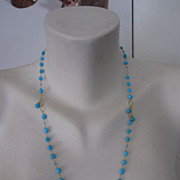 SALE 18K Solid Gold~ AAA Sleeping Beauty Turquoise necklace~ one-of-a-kind