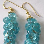 "18K Solid Gold~ Aqua Blue Apatite ""Bubble"" Earrings~ NEW!"