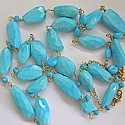 """SALE 18K Solid Gold~ AMAZING~ AAA Sleeping Beauty Turquoise  long Necklace~ NEW~ 30"""""""