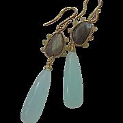 SALE 14K Solid Gold~ AAA Chalcedony , Labradorite & Diamond Earrings