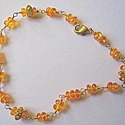 18K Solid Gold~ AAA Mandarin Garnet Bracelet~