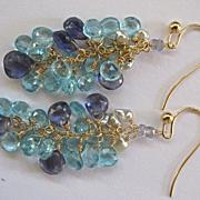 "14K Solid Gold~Apatite, Iolite, & Keishi Pearl ""cluster"" Earrings"