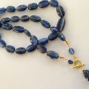 SALE 18K Solid Gold~AAA Kyanite Necklace~ One of a Kind!