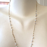 """SALE 14K Solid Gold~Raw Diamonds & Keishi Pearls long Flapper necklace~32"""""""