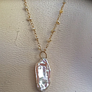 14K Solid Gold~multi-strand Golden Keishi Pearls & Stick pearl pendant