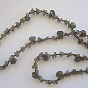 """AA Blue Flash Labradorite """"branches"""" Necklace~w/ 18K clasp"""