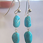 14K Solid Gold~ AAA Arizona Turquoise Earrings~ one pair only