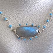 """Sterling Silver~AAA Sleeping beauty & Labradorite """"sunburst"""" set earrings & Necklace"""