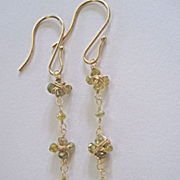 "SALE 14K Solid Gold~ Champagne Diamond ""Daisy Chain"" Earrings~ 2.25"""