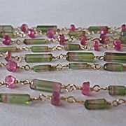 """SOLD 14K Solid Gold~ AA Bi-color Tourmaline & pink tourmaline long wrapped Necklace 55"""""""