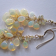 """SOLD 14K Solid Gold~AAA Ethiopian Opal and Diamond """"cluster"""" Earrings~ 2.5"""""""
