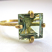 SOLD 18K solid Gold~ Hammered~AAA Blue/green Tourmaline Ring~ one of a kind~ size 6