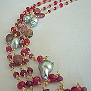 """SOLD 14K Solid Gold~ AA Rubies, Akoya Pearl & Spinel long """"flapper"""" Necklace~ 32"""""""