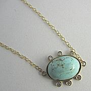 "SALE 18K Solid Gold~ Genuine Sleeping Beauty Turquoise & Diamond ""sunburst"" Necklace"