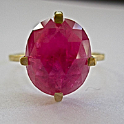 SALE 18K Solid Gold~AAA Madagascar Ruby Stack ring in a hammered gold setting~size 6 ~easily r
