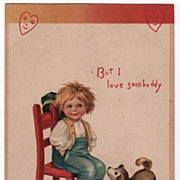 SOLD Signed Clapsaddle Valentine Postcard of a Happy Little Boy Sitting in a Chair